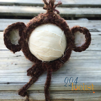 Monkey, Monkey Hat in 0-3 mos, 6-9 mos, Bear Hat, Photography Prop, Photo Prop, Monkey, Monkey Bonnet, Halloween Costume, Monkey Costume