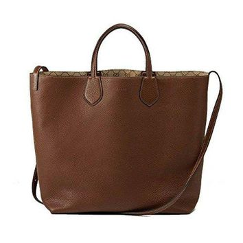 Gucci Ramble Reversible Leather and Original GG Canvas Tote Shoulder Bag 370823