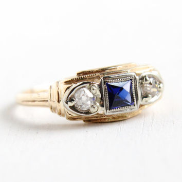 Antique 14K Yellow & White Gold Diamond and Sapphire Ring - Vintage Art Deco 1930s Size 5 1/4 Filigree Engagement Fine Jewelry Dated 1939