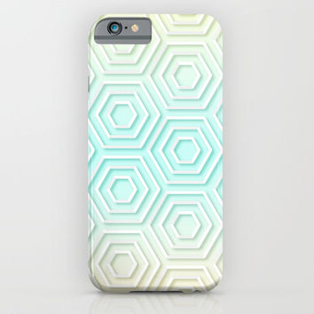 3D Hexagon Gradient Minimal Minimalist Geometric Pastel Soft Graphic iPhone & iPod Case by AEJ Design