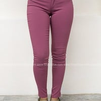Solid Stretch Jeggings | Berry