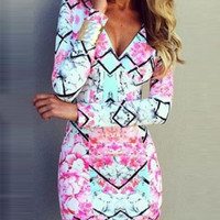 V-Neck Floral Print Long Sleeve Bodycon Dress
