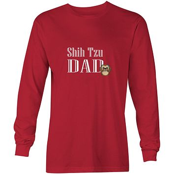 Chocolate Brown Shih Tzu Dad Long Sleeve Red Unisex Tshirt Adult Double Extra Large BB5257-LS-RED-2XL