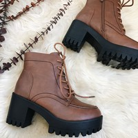CEREN CHUNKY BOOTS- TAN