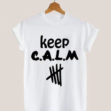 American apparel shirt keep calm 5 sos, 5 second of summer, 5sos collage t shirt mens and woman by KerisPutih Available Size : S,M,L,XL,XXL