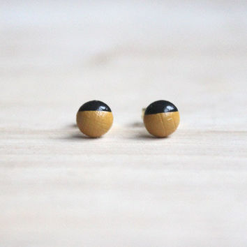 tiny wooden stud earrings mustard black dipped // wood post earring studs - 6 mm // everyday jewelry, eco-friendly, pastel stud earringsmm -