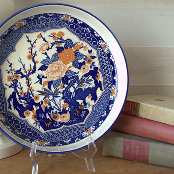 Chinese Blue and White Porcelain, Oriental Platter, Japanese Decorative Plate, Blue and White Ceramic Tray