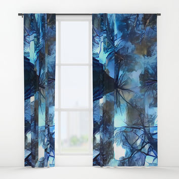 Blue forest, dark sky view, abstract spooky artwork, sad winter trees, dark blue colors nature theme Window Curtains by Casemiro Arts - Peter Reiss