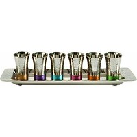 Set Of 6 Kiddush Cups On Tray