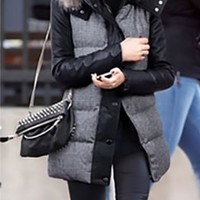 Black Grey Brown Houndstooth Puffy Faux Fur Collar Hooded long sleeve faux leather jacket Coat