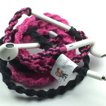Hot Pink & Jet Black - Tangle Free Earbuds - Wrapped Headphones - Your Choice of Headphones