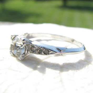 Vintage Faux Diamond Engagement Ring, Sterling Silver, Art Deco Design by Uncas, Charming