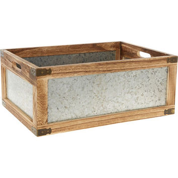 Large Brown Wood & Metal Panelled Box 18x44cm - Storage - Home Accessories - Home - TK Maxx