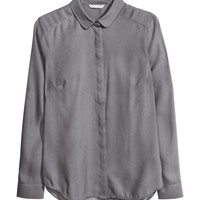 H&M - Long-sleeved Blouse - Dark gray - Ladies