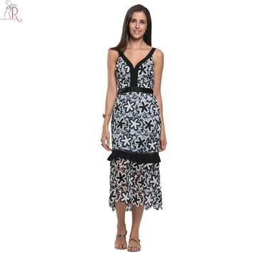 Black White Floral Lace Cami Midi Skater Dress Sleeveless Monochrome V Neck Party Prom A Line Women