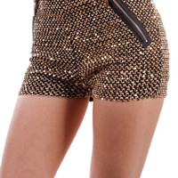 Gold/ Black Sequins Shorts