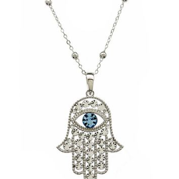 Women's Aluminum Plated Hand Evil Eye Pendant Necklace Jewelry Gift For Women
