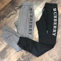 """Burberry"" Letter Embroidery Casual Trousers Pants"