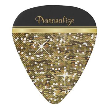 Gold Confetti with Black Accents | Personalize Guitar Pick