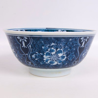 Vintage Asian Floral Porcelain Rice Soup Noodle Bowl Dark Cobalt Blue and White Japanese Ceramic Wide Low footed Tea Bowl Summer Tea Bowls