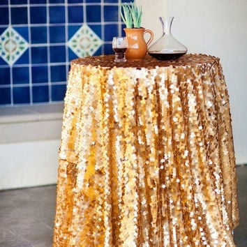 Gold Sequin Tablecloth, Sequin matte gold copper tablecloth