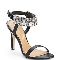 Badgley Mischka - Kallan Rhinestone Ankle Strap Leather Sandals