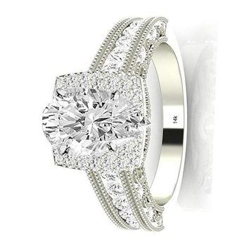.1.5 Ctw 14K White Gold GIA Certified Pear Cut Vintage Halo Style Channel Set Round Brilliant Diamond Engagement Ring Milgrain, 0.75 Ct G-H VS1-VS2 Center