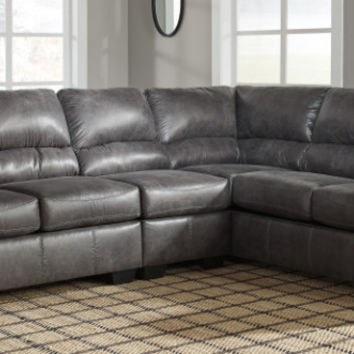 Ashley Furniture 12001-55-46-67 3 pc Bladen slate fabric sectional sofa set with rounded arms