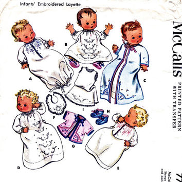 Uncut 1940's Baby Sewing Pattern. Infant's Embroidered Layette with Transfers. Baby Bootees, Nightgown, Bib. Vintage McCall's Pattern 7733