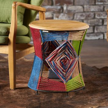 Bassett Multi Colored Yarn End Table with Mango Wood Top