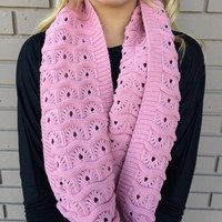Pink Textured Zig Zag Knit Infinity Scarf - Pink Textured Zig Zag Knit Infinity Scarf