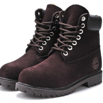 """Timberland"" Boos With Fur Upper Leather Brown"