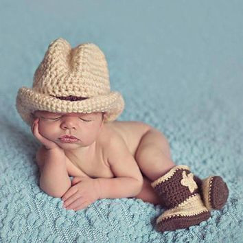 Newborn Photography Props Baby Infant Crochet Knit Cowboy Costume Hat Photo Props Baby