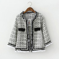None-Button Bead Fringed Sleeve Blazer