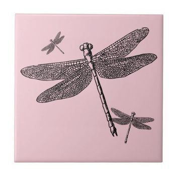 Three Dragonflies Ceramic Tile