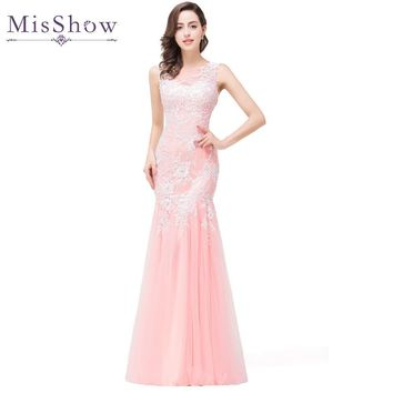 In stock 2017 Real Photos Mermaid Long Pink Tulle Evening Dresses Elegant Robe De Soiree Longue See Through Back Party Prom Gown