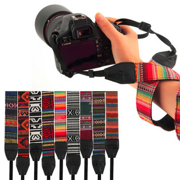 3 in 1 Camera Straps Vintage Hippie Style Canvas for DSLR Camera