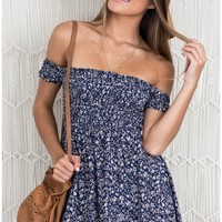 Bold Shoulder dress in navy floral Produced By SHOWPO