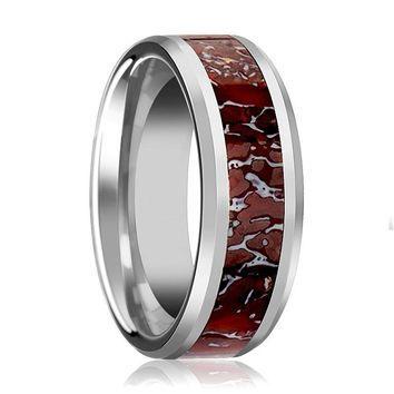 ZAHRAX Silver Tungsten Wedding Band for Men and Women W/ Red Dinosaur Bone Inlay & Bevels - 4MM - 8MM