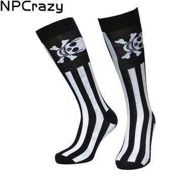 Novelty socks skull strip long socks knee high crew sock