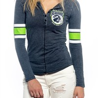 Seattle Seahawks Womens Vintage Raglan Top | SportyThreads.com