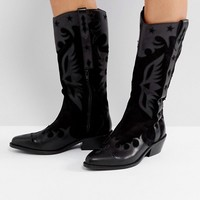 ASOS CACTUS Leather Western Knee High Boots at asos.com