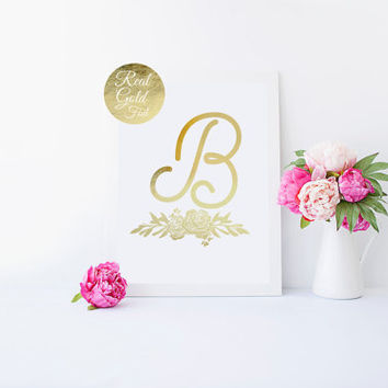 Real Gold Foil Print, Custom Letter Print, Custom Flowers Gold Foil, Personalized Poster, Monogram, Typography Print, Alphabet Print,Nursery