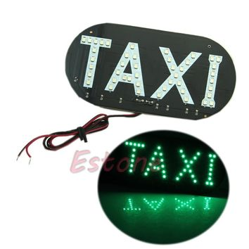 12V Taxi Car Auto Vehicles Windscreen Cab Sign Green LED Light Lamp