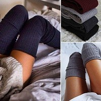 Ladies Women Stockings Winter Soft Cable Knit Over knee Long Boot Thigh High Warm Stockings