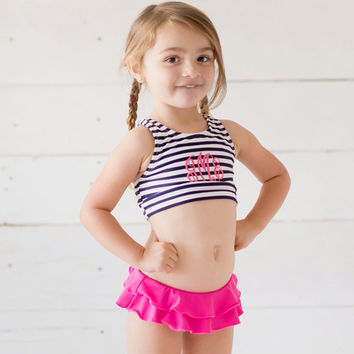Monogrammed Swimsuit, Toddler Swimsuit, Navy Prep Stripe Swimsuit Set, Girls Monogrammed swimsuit, Toddler swimsuit, Monogrammed Swimsuit