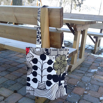 Tote bag made from Marimekko fabric, canvas shopping bag, Laptop School Book Travel Market tote bag, reusable grocery bag,  black and white