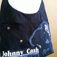 Johnny Cash Bag The Man In Black Upcycled by TheCollectiveChaos