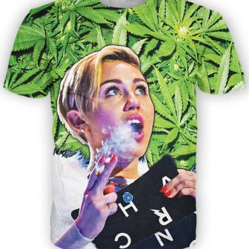 Women Men 3D Smokin on that Cyrus T-Shirt Miley Cyrus in weed leaf Tees Summer Short Sleeve T-SHIRT tee T Shirts Tops