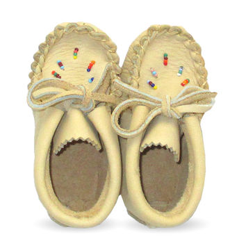 Beaded Baby Moose Hide Leather Moccasins - 4337-B